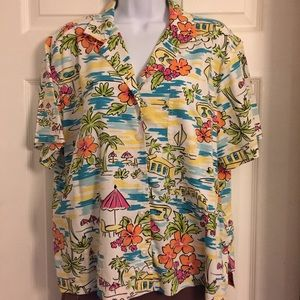 Erika Lg Short sleeve button up blouse beach print